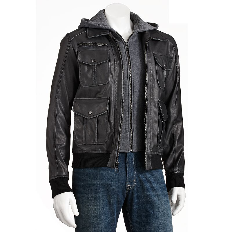 Men's Excelled Faux-Leather Hooded Bomber Jacket