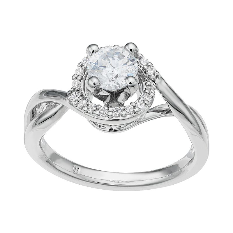 14k White Gold 7/8 Carat T.W. IGL Certified Diamond Tiered Halo Engagement Ring