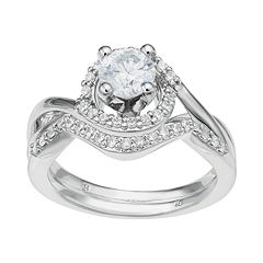 14k White Gold 1 Carat T.W. IGL Certified Diamond Tiered Halo Engagement Ring Set by