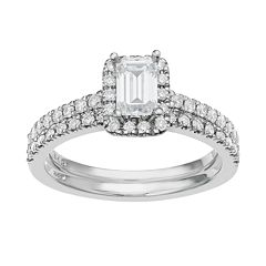 14k White Gold 1 Carat T.W. IGL Certified Diamond Tiered Rectangle Engagement Ring Set  by