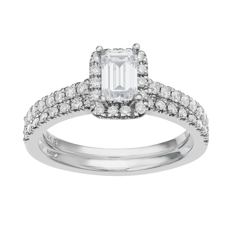 14k White Gold 1 Carat T.W. IGL Certified Diamond Tiered Rectangle Engagement Ring Set