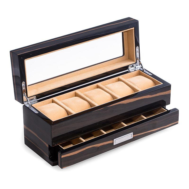 Bey-Berk Ebony Wood 5-Slot Watch Storage Box - Men