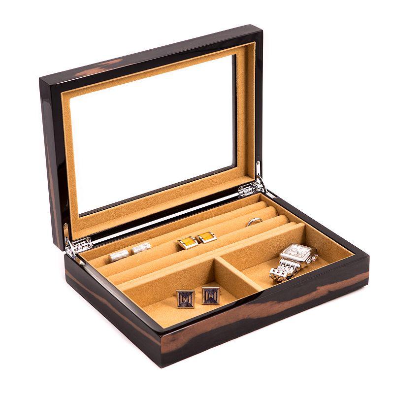 Bey-Berk Lacquered Wood Valet Case - Men