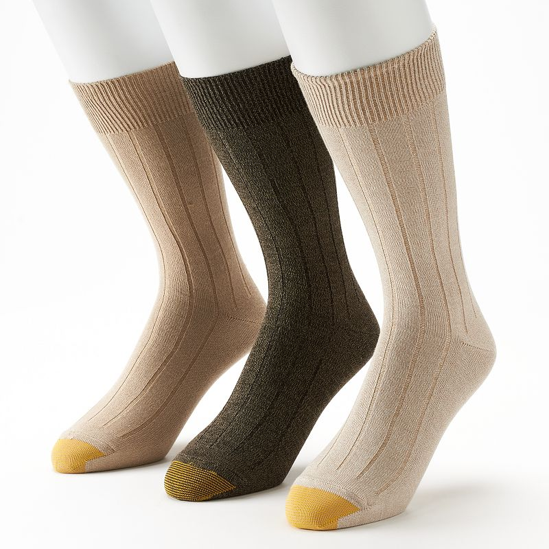 Men's GOLDTOE 3-pack Ultra-Soft Ribbed Crew Socks