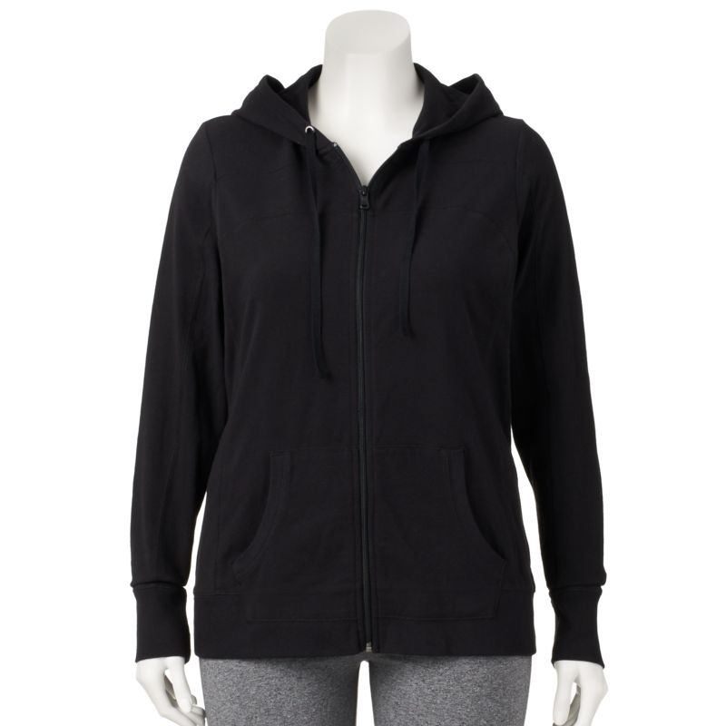 Plus Size Plus Size Tek Gear Core Lifestyle Full-Zip Yoga Hoodie, Women's, Size: 1X, Black