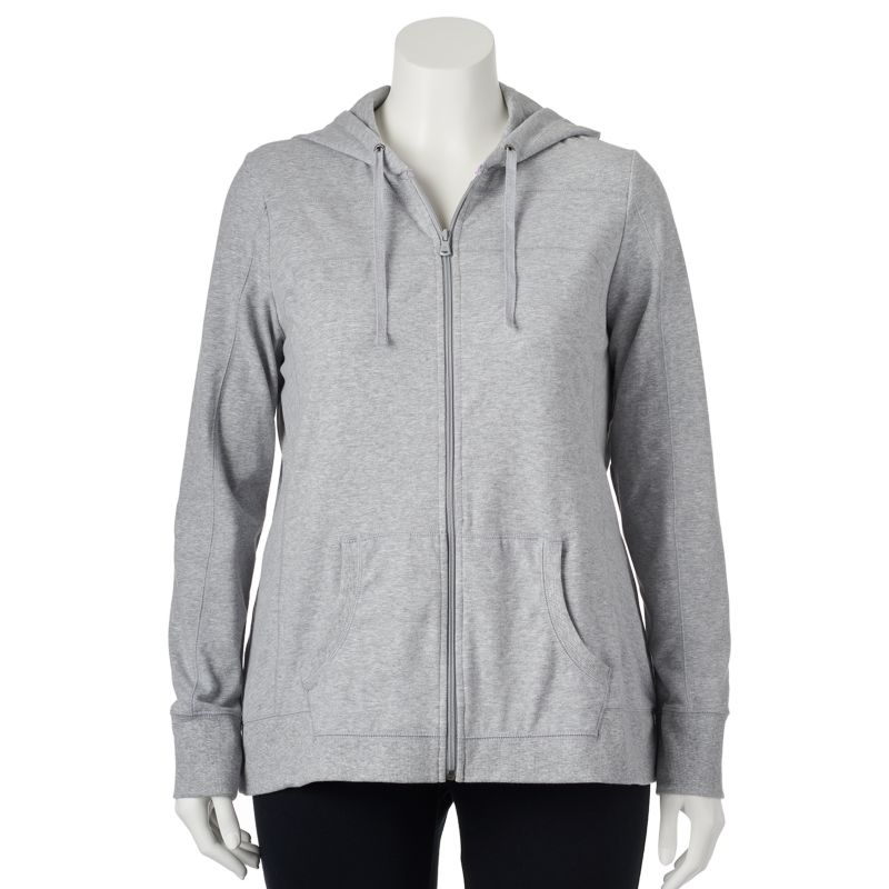 Plus Size Plus Size Tek Gear Core Lifestyle Full-Zip Yoga Hoodie, Women's, Size: 1X, Grey