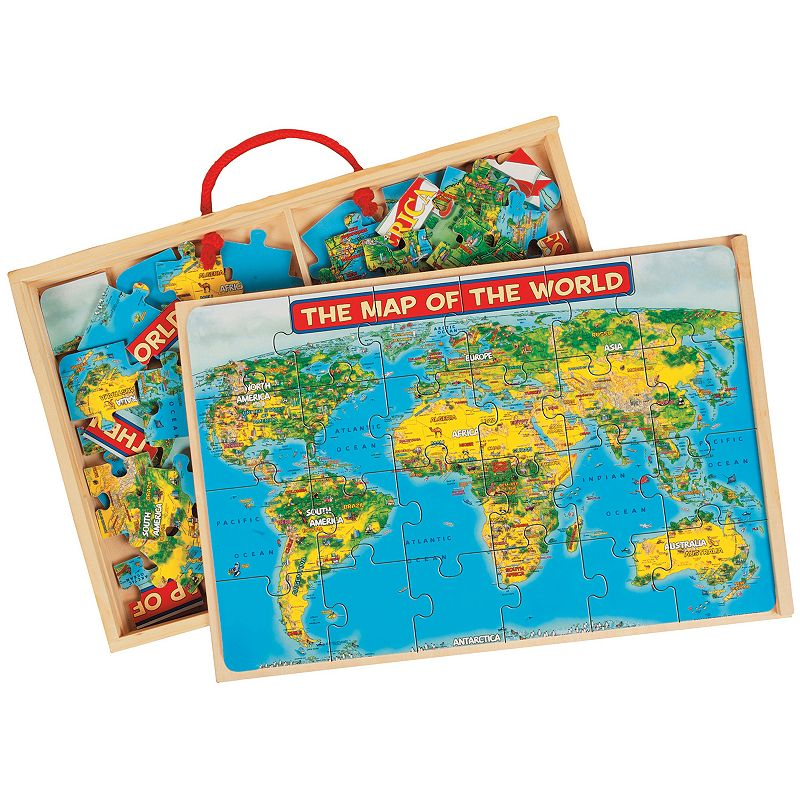 T.S. Shure PuzBox 2-pk. US and World Map Wooden Puzzle Set