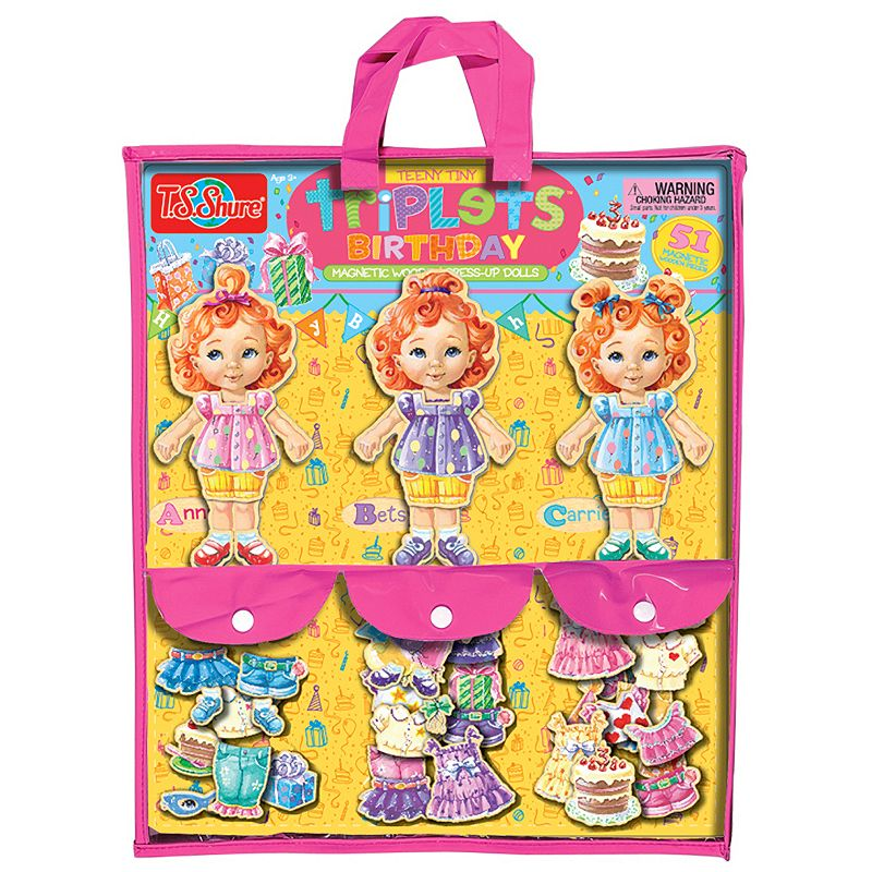 T.S. Shure Teeny Tiny Triplets Birthday Wooden Magnetic Dress-Up Doll Set
