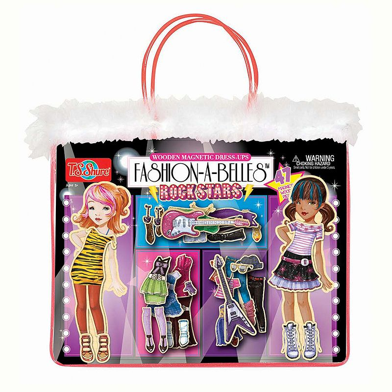 T.S. Shure Fashion-A-Belles Rockstar Wooden Magnetic Dress-Up Doll Set