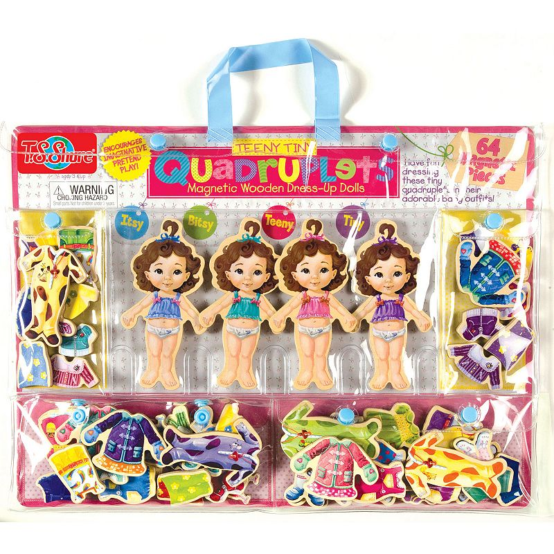 T.S. Shure Teeny Tiny Quadruplets Wooden Magnetic Dress-Up Doll Set