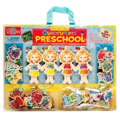 T.S. Shure Teeny Tiny Quadruplets Preschool Wooden Magnetic Dress-Up Doll Set