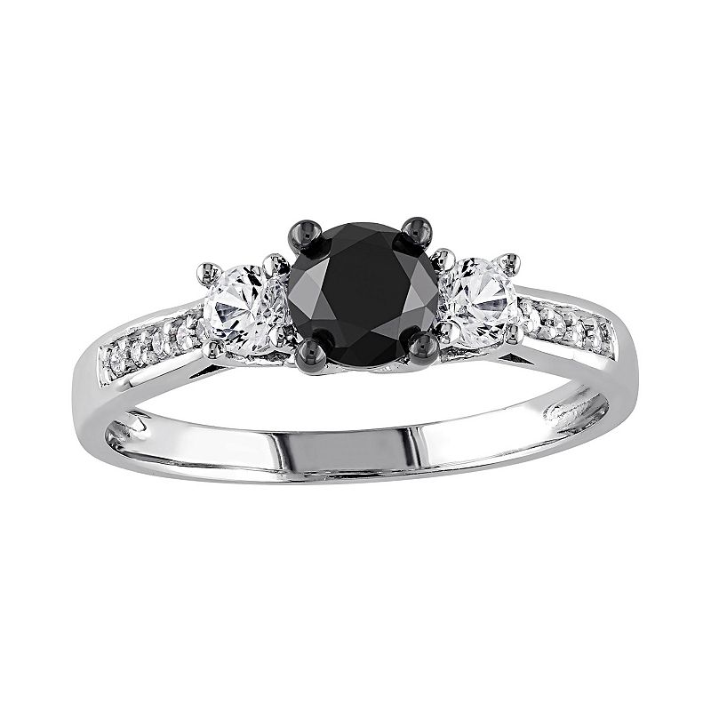 4/5 Carat T.W. Black and White Diamond, and Lab-Created White Sapphire 10k White Gold 3-Stone Ring
