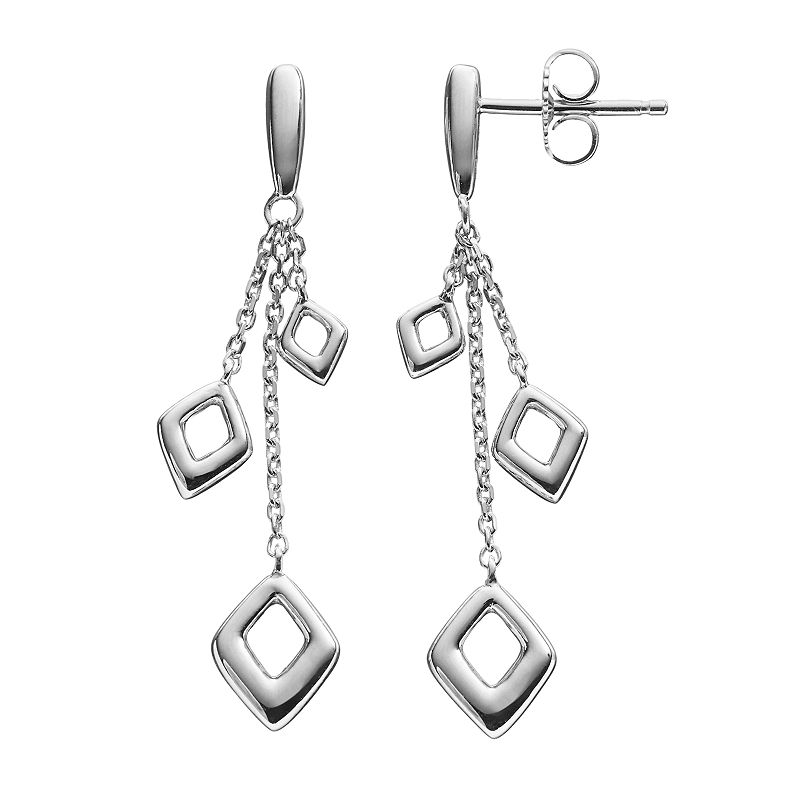 She Sterling Silver Kite Linear Drop Earrings