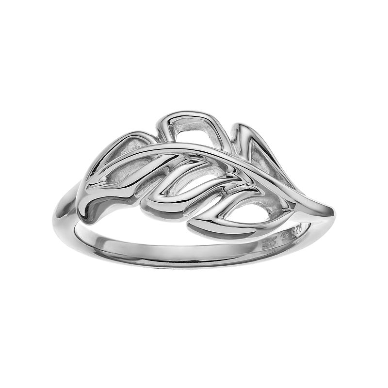 She Sterling Silver Leaf Ring