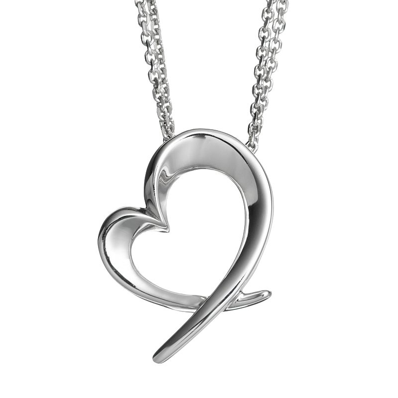 She Sterling Silver Heart Pendant Necklace
