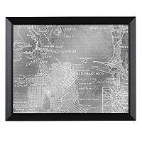 Head West San Francisco Map Framed Wall Art