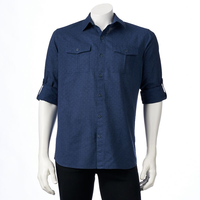 Big & Tall Marc Anthony Slim-Fit Roll-Tab Linen-Blend Casual Button-Down Shirt