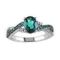 Lab-Created Emerald & 1/10 Carat T.W. Diamond 10k White Gold Crisscross Ring
