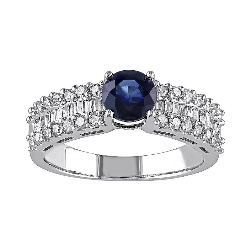 Blue Sapphire and 5/8 Carat T.W. Diamond 10k White Gold Ring