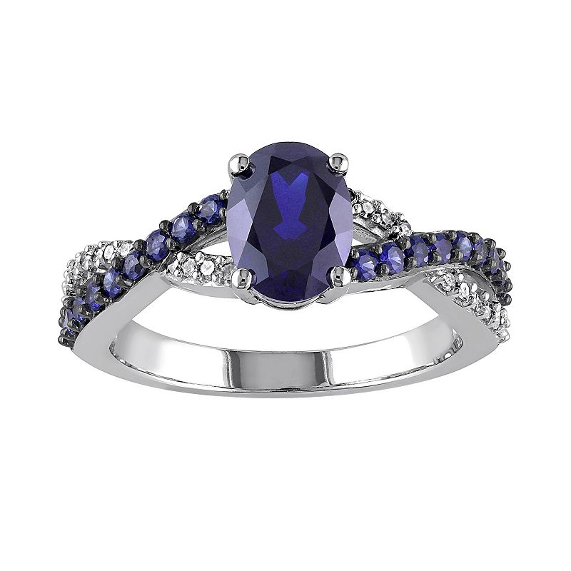 Lab-Created Blue Sapphire and 1/10 Carat T.W. Diamond 10k White Gold Crisscross Ring