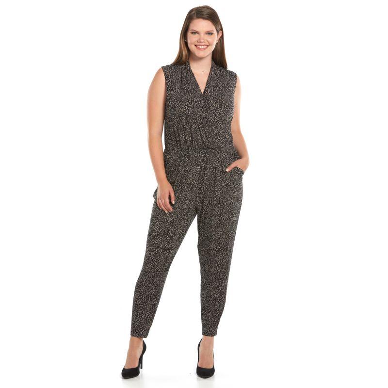 Plus Size Apt. 9 Drape Front Jumpsuit, Women's, Size: 0X, Beige/Khaki