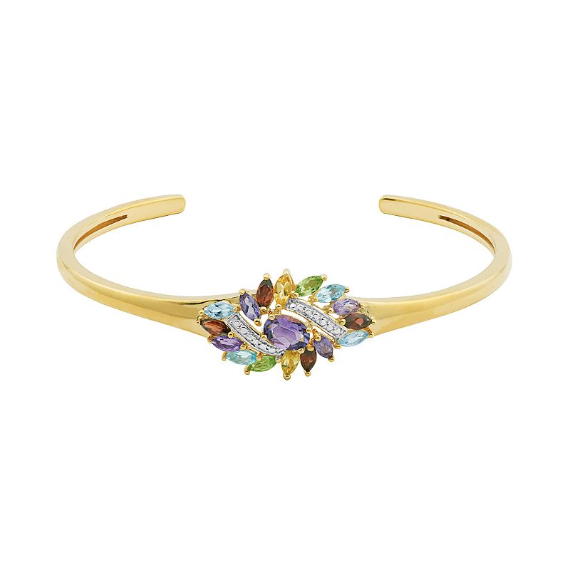 Gemstone and Diamond Accent 18k Gold Over Silver Cuff Bracelet