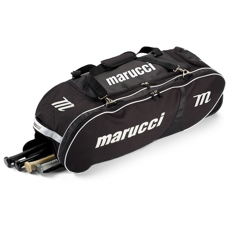 Marucci Player Rolling Baseball Bat Bag, Black Sports Gear