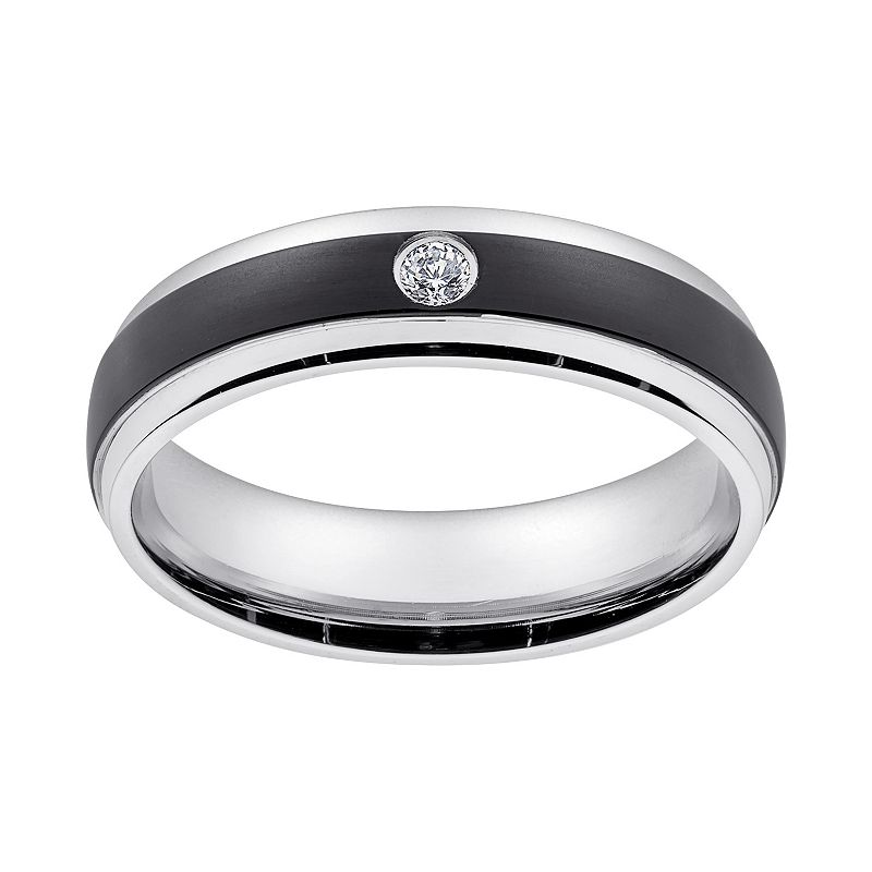 Cubic Zirconia Black Ion-Plated Stainless Steel and Stainless Steel Band - Men