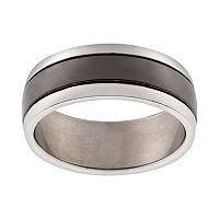 Black Ion-Plated Titanium & Titanium Stripe Band - Men
