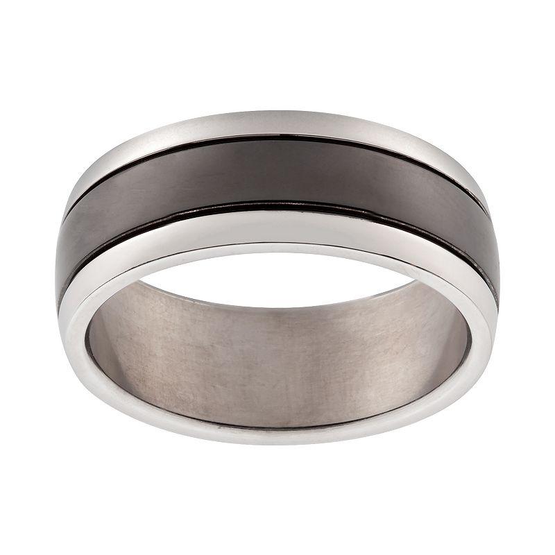 Black Ion-Plated Titanium and Titanium Stripe Band - Men