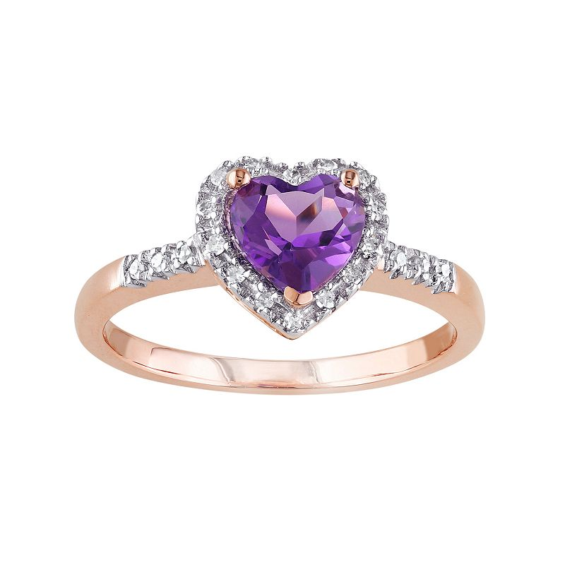 Amethyst and 1/10 Carat T.W. Diamond 10k Rose Gold Heart Halo Ring