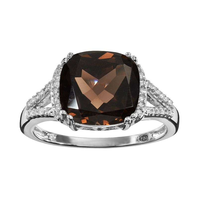 Smoky Quartz and 1/10 Carat T.W. Diamond Sterling Silver Ring