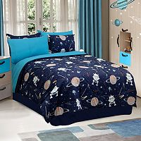 Veratex Glow-in-the-Dark Galaxy Invaders Comforter Set