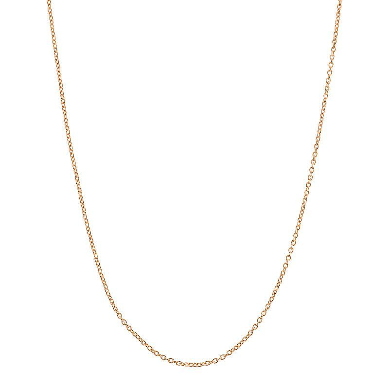 14k Rose Gold-Plated Silver Adjustable Cable Chain Necklace - 22 in.