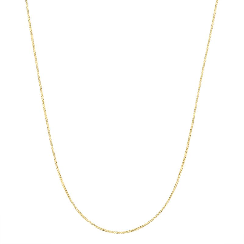 14k Gold-Plated Silver Adjustable Box Chain Necklace - 22 in.