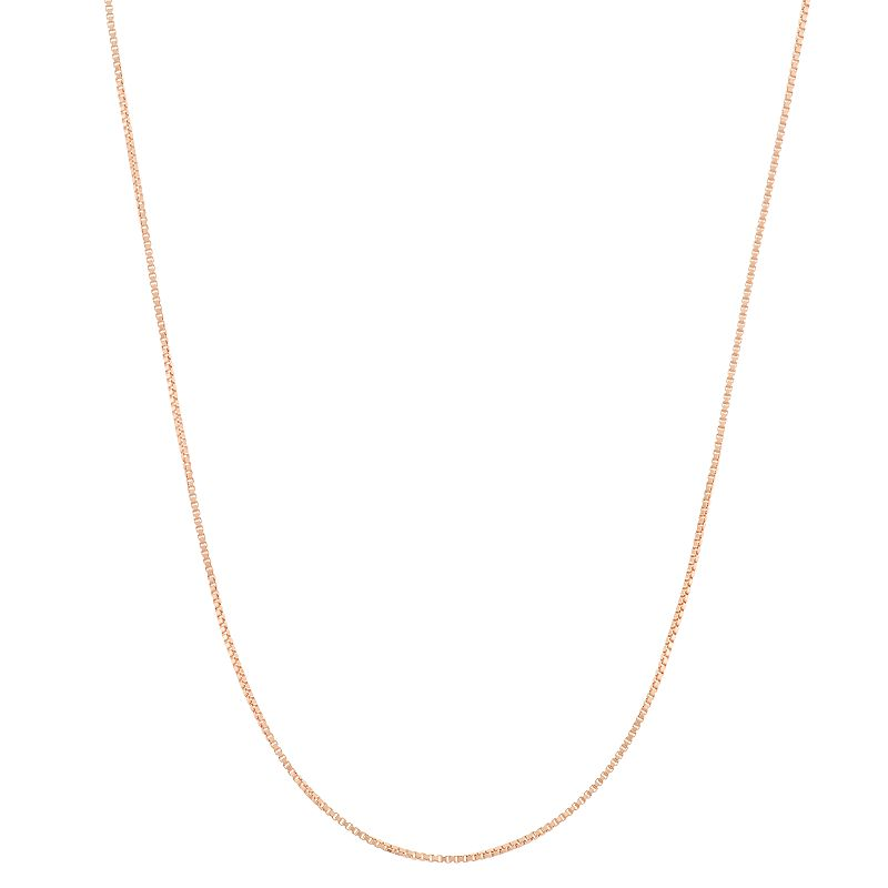 14k Rose Gold-Plated Silver Adjustable Box Chain Necklace - 22 in.