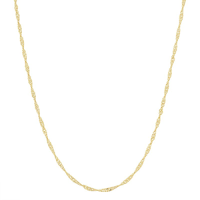 14k Gold-Plated Silver Adjustable Singapore Chain Necklace - 22 in.