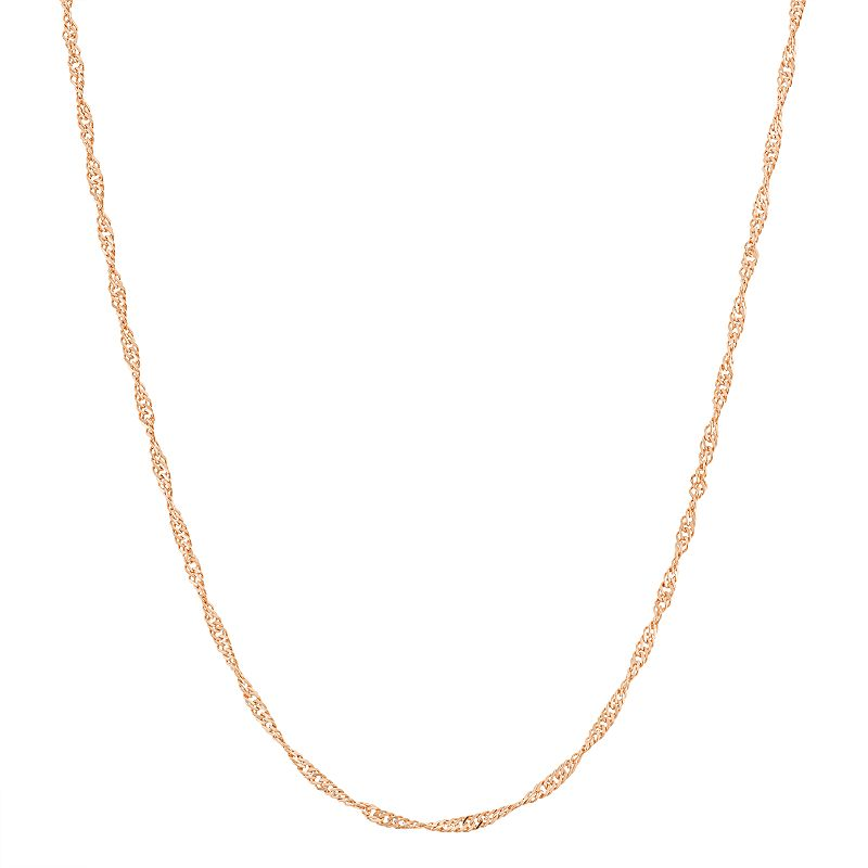 14k Rose Gold-Plated Silver Adjustable Singapore Chain Necklace - 22 in.
