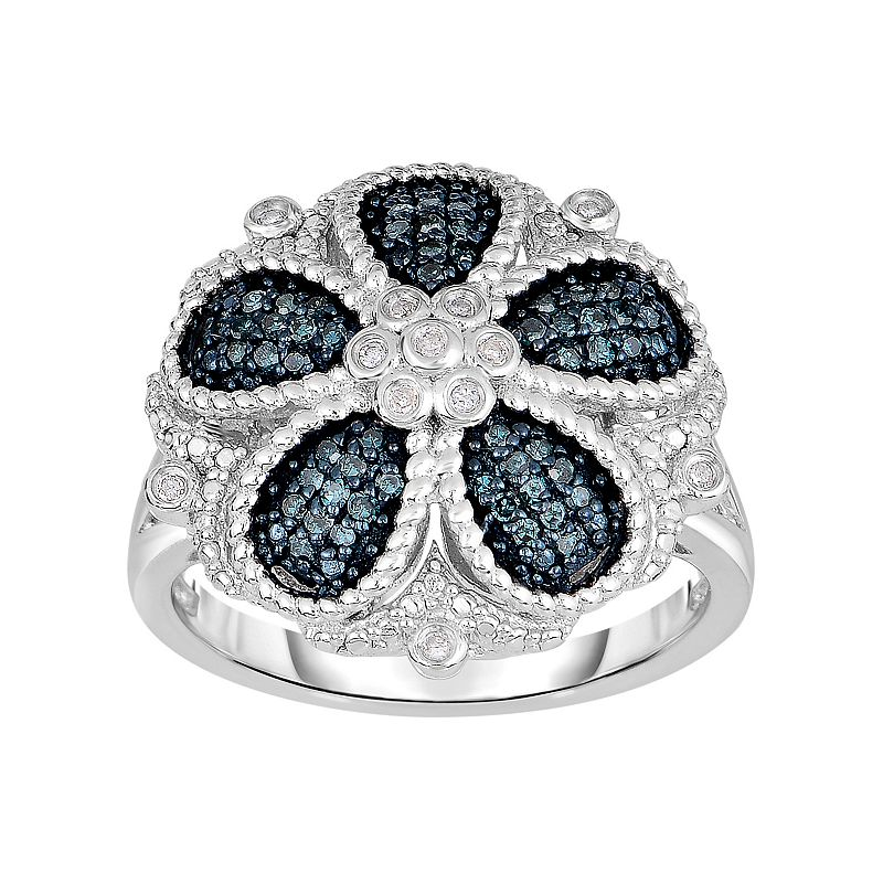 1/3 Carat T.W. Blue and White Diamond Sterling Silver Flower Ring