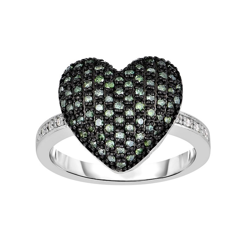 Sterling Silver 1/5 Carat T.W. Green & White Diamond Heart Ring