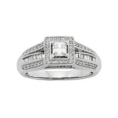 Diamond Tiered Square Halo Engagement Ring in 10k White Gold (1/2 Carat T.W.) by