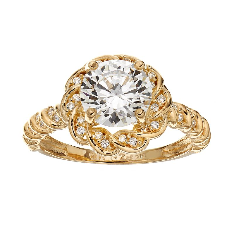 Cubic Zirconia 10k Gold Flower Ring