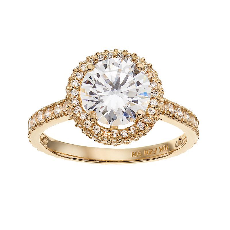 Cubic Zirconia 10k Gold Tiered Halo Ring