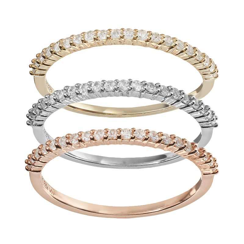 Lab-Created White Sapphire Two Tone 14k Gold Over Silver and Sterling Silver Stack Ring Set