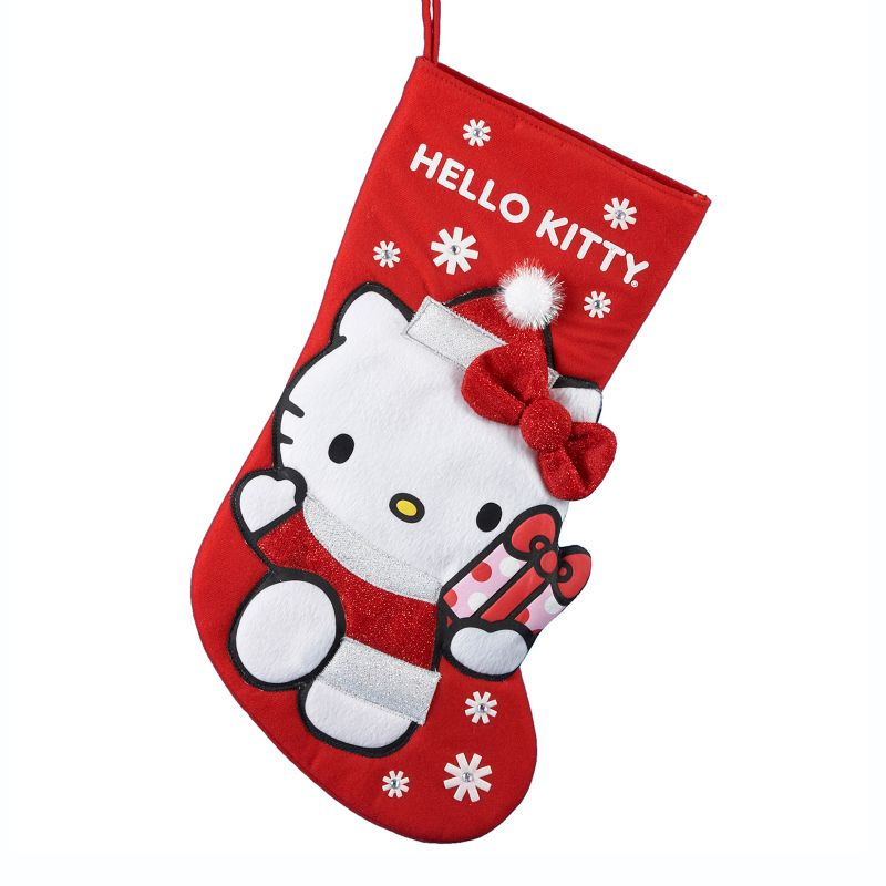 Kurt Adler Hello Kitty Christmas Stocking, Multicolor