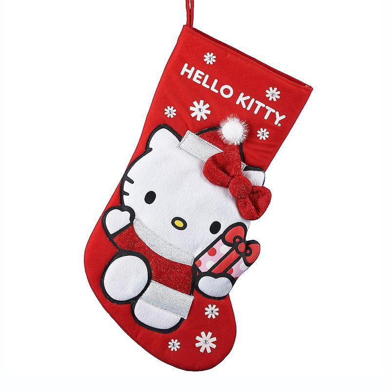Kurt Adler Hello Kitty Christmas Stocking, Multicolor