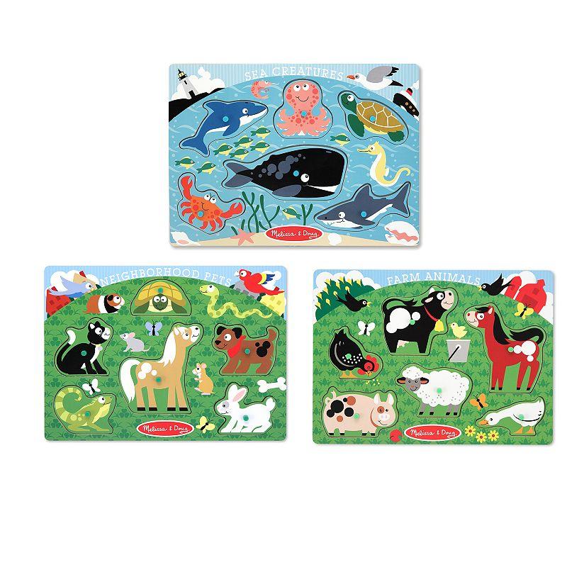 Melissa and Doug Farm Animals, Pet and Sea Creature Peg Puzzle Set