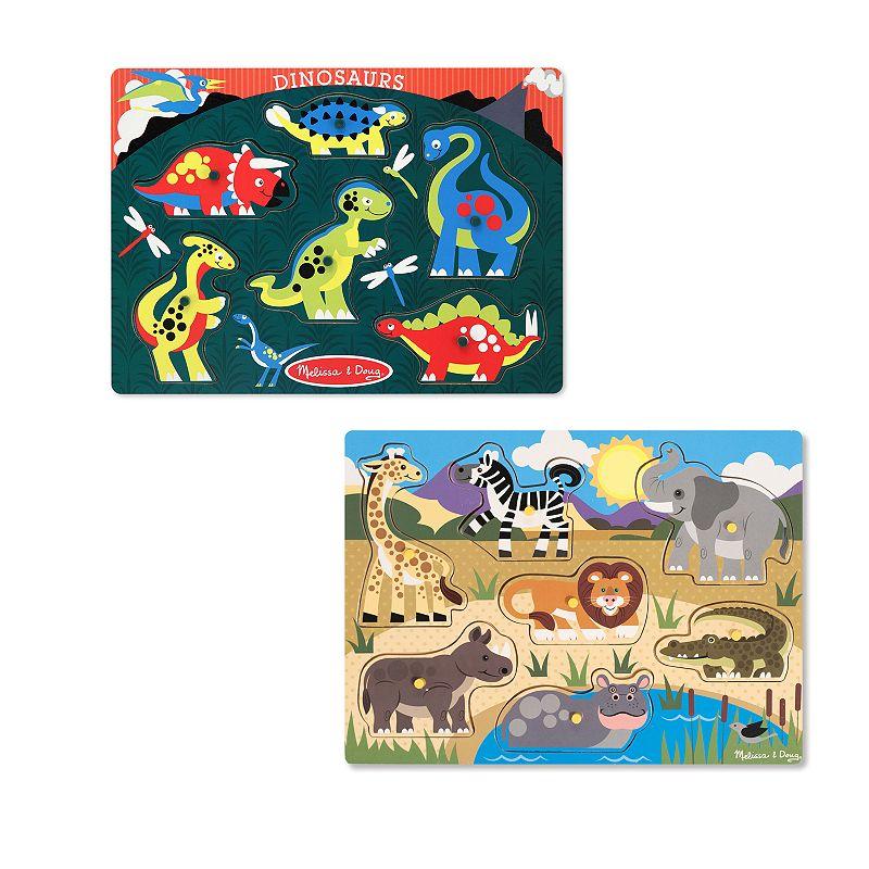 Melissa and Doug Safari and Dinosaurs Peg Puzzle Set