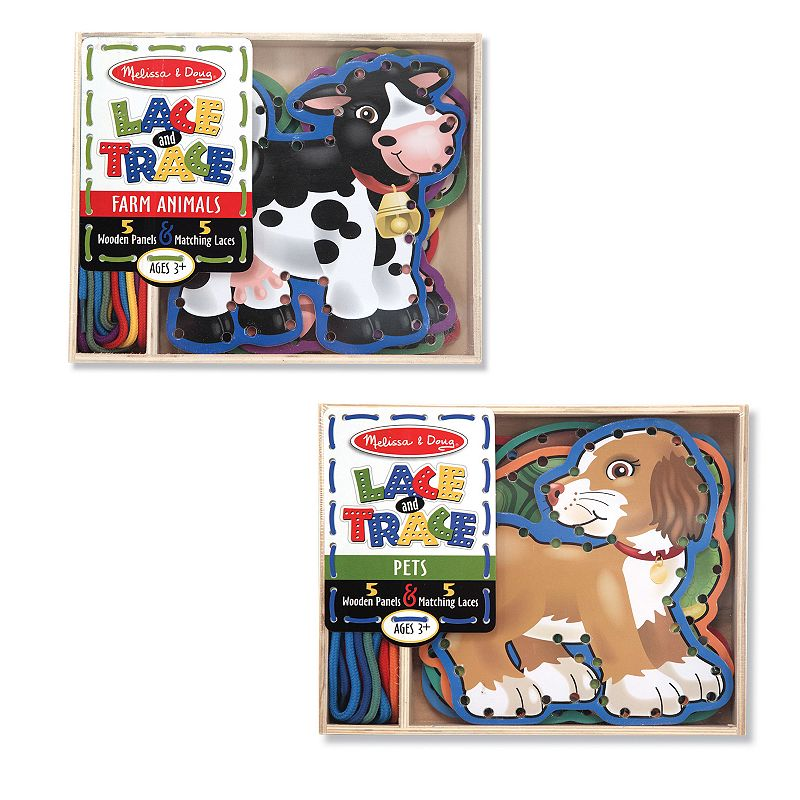 Melissa and Doug Lace and Trace Pets and Farm Animals Set