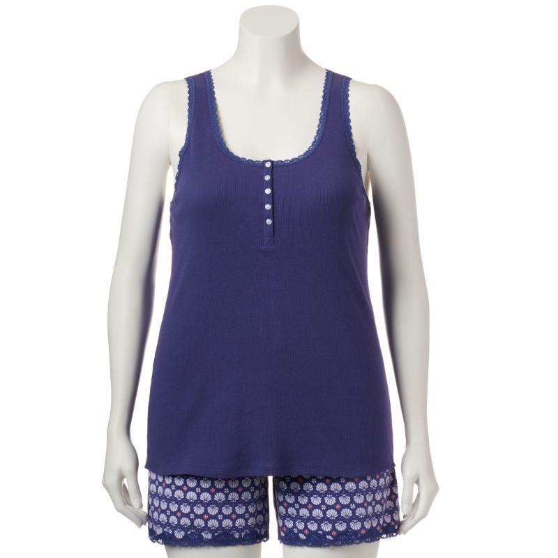 Plus Size Plus Size SONOMA life + style Pajamas: Ribbed Henley Tank & Shorts Pajama Set, Women's, Size: 1X, Blue